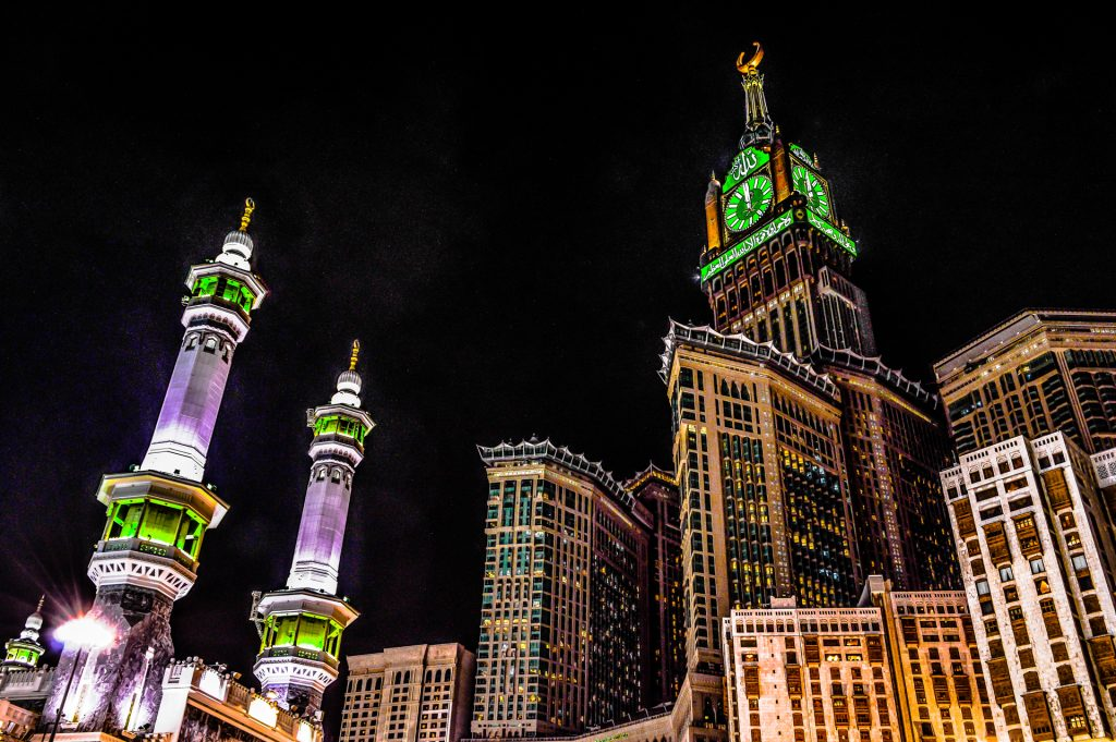 Abraj Al Bait towers at night